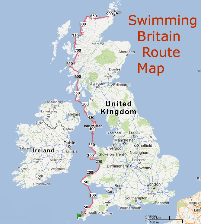 Swim the length of Britain map